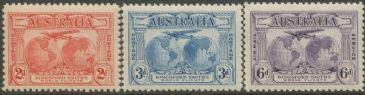 Australia KGV SG121-3 1931 Kingford Smith's World Flights set of 3 (AGCM/639)